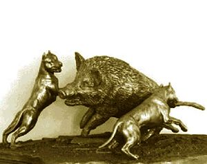 "Boar hunting - A bronze sculpture from the early 1900s, depicting two ""catch dogs"" working a wild boar."