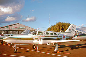 Amref Health Africa - East African Flying Doctor Service Cessna 402B at its Nairobi (Wilson) Airport base in 1973