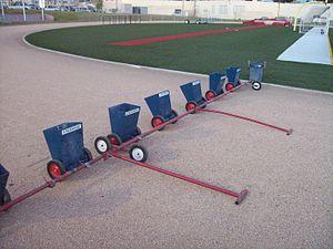 Cinder track - Equipment used for putting chalk lines on a cinder track.