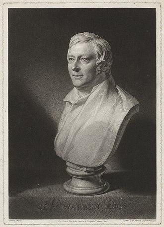 Charles Warren (engraver) - Etching of a sculpted bust of Charles Turner Warren by Samuel William Reynolds (1824).