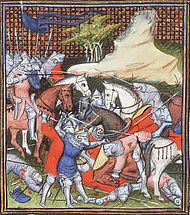 Charles of Blois is captured in the battle of La Roche-Derrien (depiction around 1410)