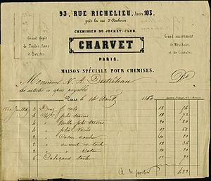 Charvet Place Vendôme - Invoice (1860) to Nicholas Destréhan, a planter from Louisiana.
