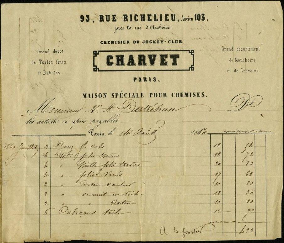Charvet invoice Destrehan 1860