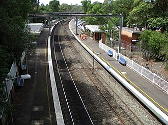 Northern Sydney Freight Corridor - At Cheltenham a new footbridge was built with the new track passing to the right