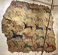 Cheyenne (tsitsistas), coperta di teepee dipinta con registro vittorie della società dei guerrieri dell'elkhorn scrapers, montana o wyoming, 1870 ca. 01.jpg