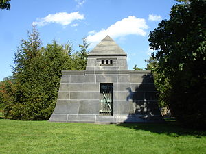 Martin Ryerson Tomb - The front elevation of the Martin Ryerson Tomb.