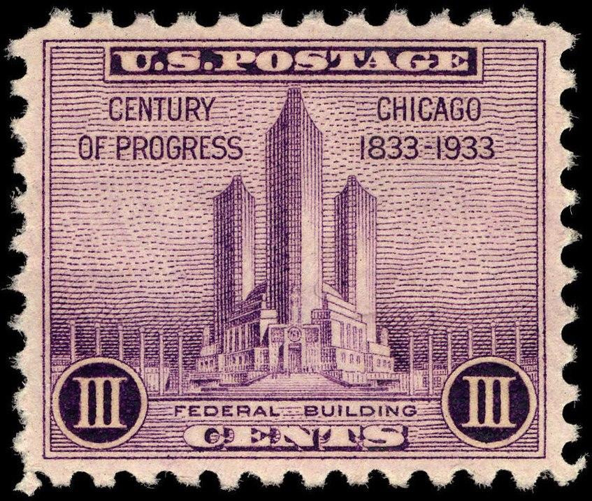 Chicago Century of Progress Federal Building 3c 1933 issue U.S. stamp