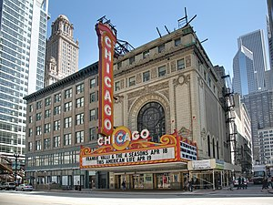 The facade of the Chicago Theatre.