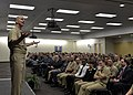 Chief of U.S. Naval Operations Adm. Jonathan Greenert, left, speaks during an all-hands call at U.S. Fleet Cyber Command-U 131217-N-ZI511-758.jpg