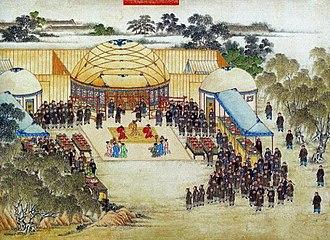 Battle of Ngọc Hồi-Đống Đa - Chinese officials receiving the deposed Emperor Lê Chiêu Thống.