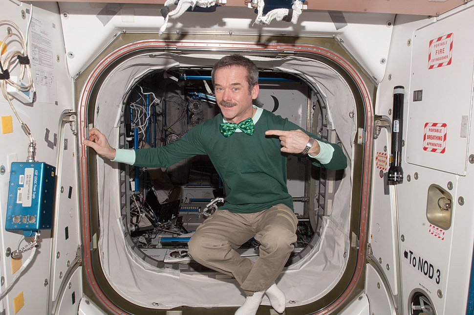 Chris Hadfield in the Space Station on Saint Patrick's Day