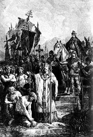 Saxon Wars - Conversion of the Saxons, A. de Neuville, c. 1869