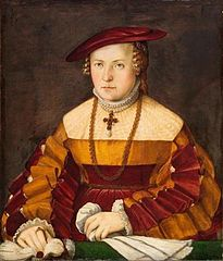 Bildnis der Ehefrau des Ulrich Ehinger, Ursula Meuting (gest. 1588) (Bildnis der Frau des Santjagoritters)