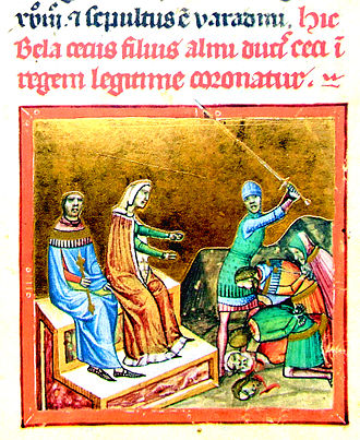 Helena of Serbia, Queen of Hungary - Helena, depicted as witnessing the execution of one of her husband's enemies, in the Chronicon Pictum