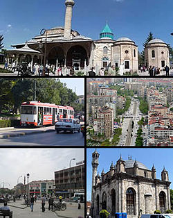 Tap: Mavlana Museum, Middle left: Konya Tramway in Alaaddin Street, Middle richt: Nalcaci Avenue in Seljcuklu Destrict, Bottom left: Mawlana Mosque an dountoun Beysehir Merkezi aurie, Bottom rivht: Aziziye Mosque