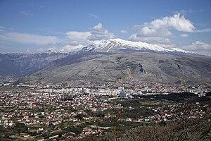 Velež (Bosnia and Herzegovina) - City of Mostar below mountain Velež