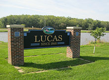City sign, Lucas, Lucas County, Iowa.jpg