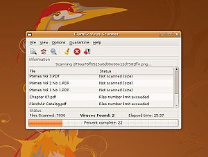 Screenshot of ClamTk 3.08 running on Ubuntu 8....