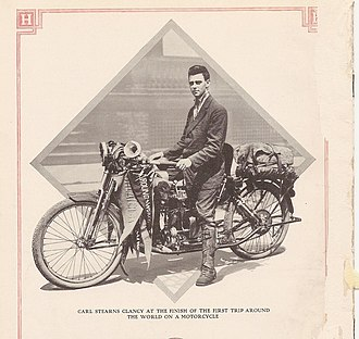 Carl Stearns Clancy - Clancy on Henderson Four after world circumnavigation, 1913