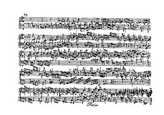 Partitas for keyboard (Bach) - Close of final Gigue from Partita No.6, BWV 830, first edition, 1731