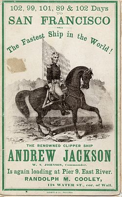 Clipper ship card advertising Andrew Jackson