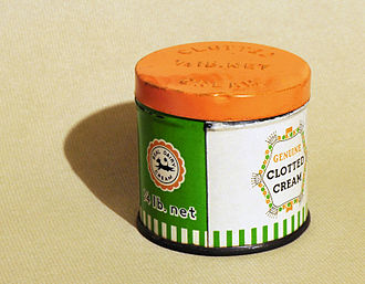 Clotted cream -  A tin that was used in the 1970s to send clotted cream through the post from Devon