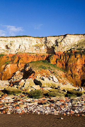 Coastal erosion - Heavy marine erosion: cliff fall at Hunstanton in the east of England
