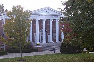 Hollins University - A view of the Cocke Building on the front quad from East.