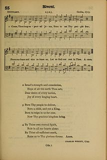 Come, Thou Long Expected Jesus 1744 hymn with lyrics by Charles Wesley