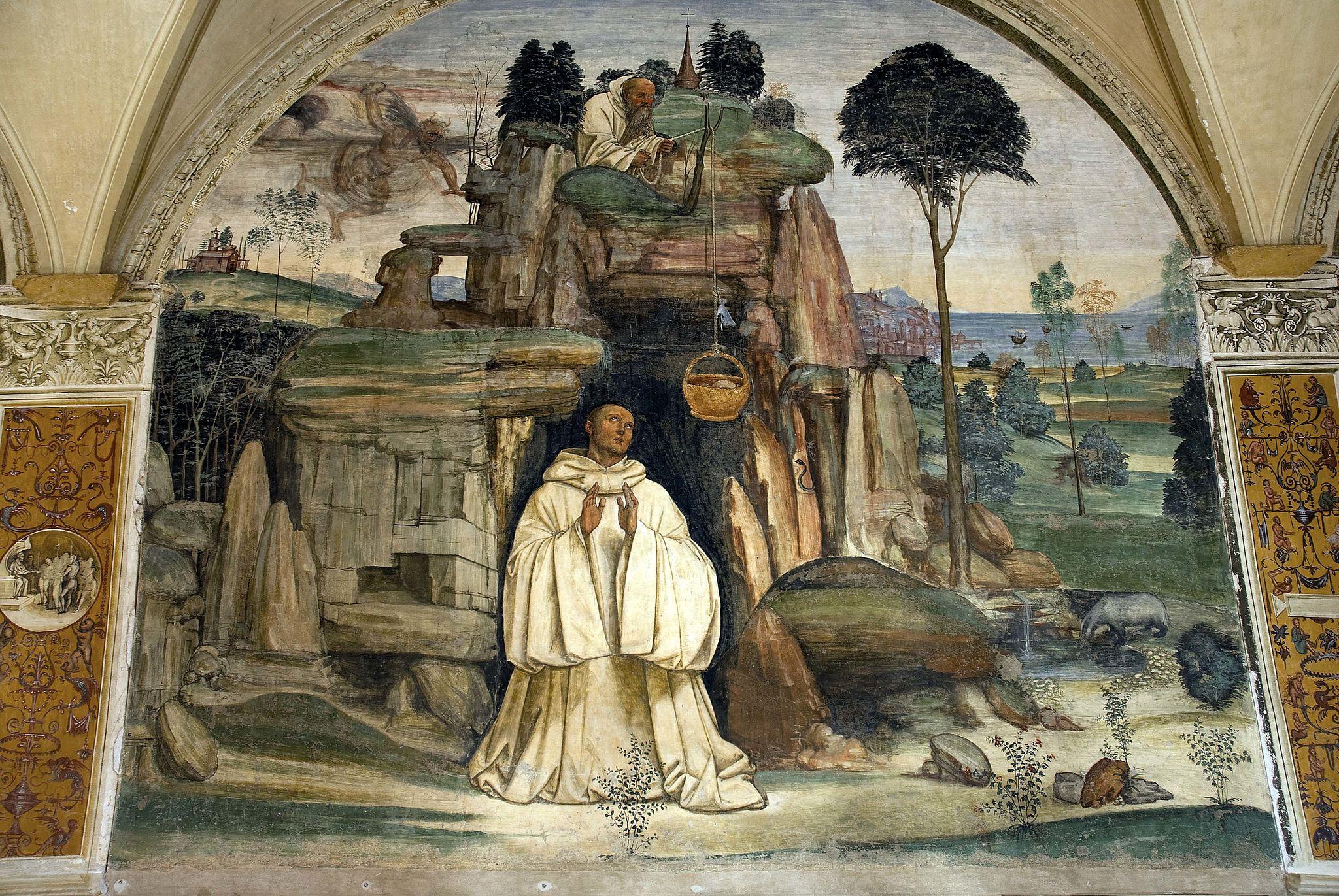 Il Sodoma, Le storie di San Benedetto, Scena 5, Come lo dimonio rompe la campanella, Abbazia di Monte Oliveto Maggiore, Il Cloistro Grande