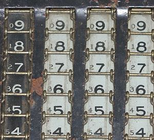 Method of complements - Complement numbers on an adding machine c. 1910. The smaller numbers, for use when subtracting, are the nines' complement of the larger numbers, which are used when adding.