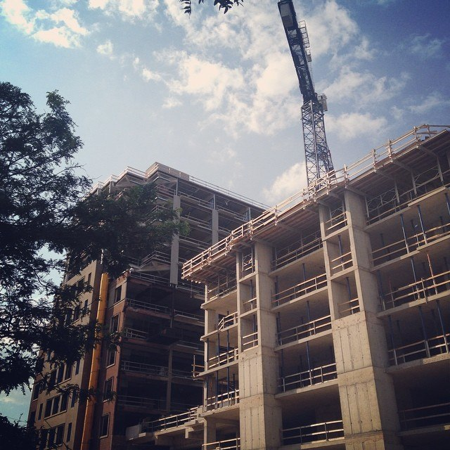 Construction and restoration of the new %22Bella Towers%22 on 150 Main Street West in downtown Hamilton, Ontario