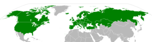 Convention on Long-Range Transboundary Air Pollution - Map showing Convention on Long-Range Transboundary Air Pollution signatories (green) and ratifications (dark green) as of July 2007