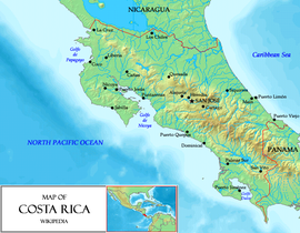 General map of Costa Rica.
