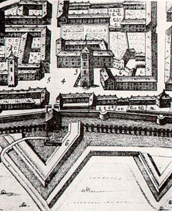 Piazza Vische and its tower (Theatrum Sabaudiae 1682)