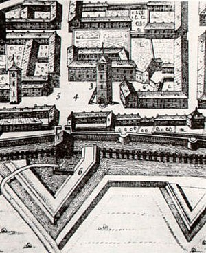 Crescentino - Piazza Vische and its tower (Theatrum Sabaudiae 1682)