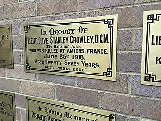 Clive Crowley - Crowley's memorial plaque in the  Newington College Chapel