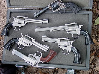 Freedom Arms - Freedom Arms revolvers with a Colt 1873P above.