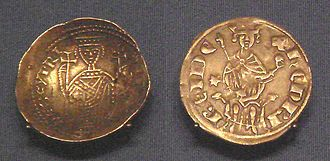 Kingdom of Cyprus - Cyprus gold bezant, derived from Byzantine design, 1218–1253 (left), and Cyprus Western-style silver gros 1285–1324 (right).