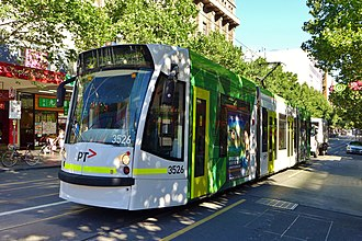 Melbourne tram route 72 - D1 class tram on Swanston Street in December 2014