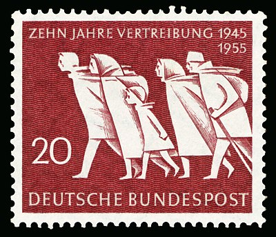 A stamp issued in West Germany to commemorate the victims of the postwar ethnic cleansing. DBP 1955 215 Vertreibung.jpg