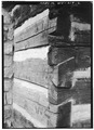 DETAIL OF DOVETAILING - Ruffner Cabin, Daniel Boone Park, U.S. Route 60, Charleston, Kanawha County, WV HABS WVA,20-CHAR,5-2.tif