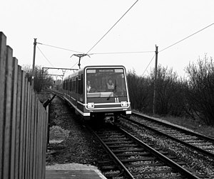 Timeline of Manchester Metrolink - Docklands Light Railway rolling stock on public display in Debdale Park on 9 February 1987