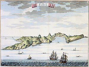 "Dabhol - A view of Dabul from ""De Zee En Land-Caarten en Gizigeten van steeden en landvertooningen van oost-indien,"" published by the Van Keulen family, 1752,"