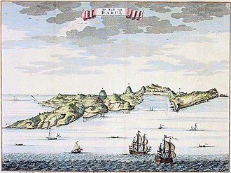 """Dabhol - A view of Dabul from """"De Zee En Land-Caarten en Gizigeten van steeden en landvertooningen van oost-indien,"""" published by the Van Keulen family, 1752,"""