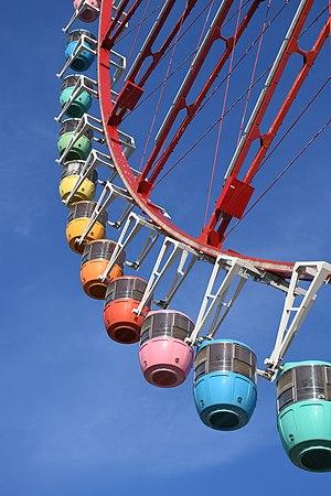 Detail of Daikanransha, Ferris wheel in Odaiba, Tokyo, Japan.