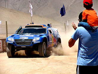 2010 Dakar Rally - Nasser Al-Attiyah and Timo Gottschalk during the ninth stage; they finished second in the cars class, behind team-mates Carlos Sainz and Lucas Cruz.