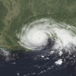 A view of Hurricane Danny from Space on July 19, 1997. Danny is at its peak intensity, and is approaching landfall along the U.S. Gulf Coast. The Florida peninsula is seen on the eastern side of the image.