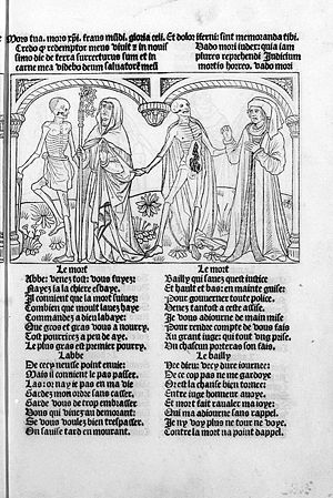 John Mirk - The Dance of Death, carrying off cleric and layperson alike in a 15th-century depiction.