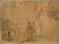 Dante, an eine Felswand gelangt, begegnet Manfred, dem ehemaligen König von Apulien und Sizilien, der sich ihm zu erkennen gibt und Verschiedenes miteilt; oben auf dem Felsen sehen sie die kirchlich Verbannten Buße tun (SM 942g).png